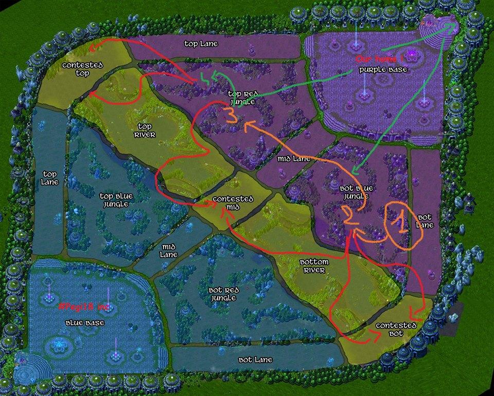 Carte 4 : Start Gromp / Blue / Red. Si jungler à bon sustain => Golems (voir Loups). Back puis gank suivant les flèches rouges.