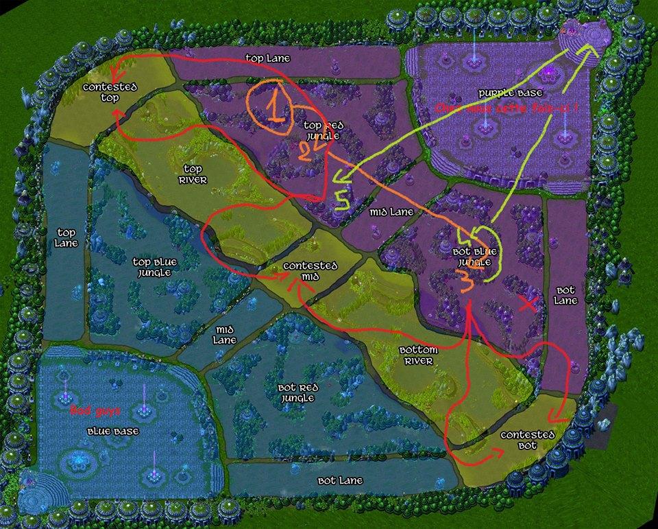 Carte 3 : Start Golem / Red / Blue. Si jungler à bon sustain => Loups (voir Wraiths). Back puis gank suivant les flèches rouges.